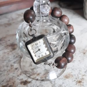 Vintage Wood Beaded Band Watch Round Brown Beads